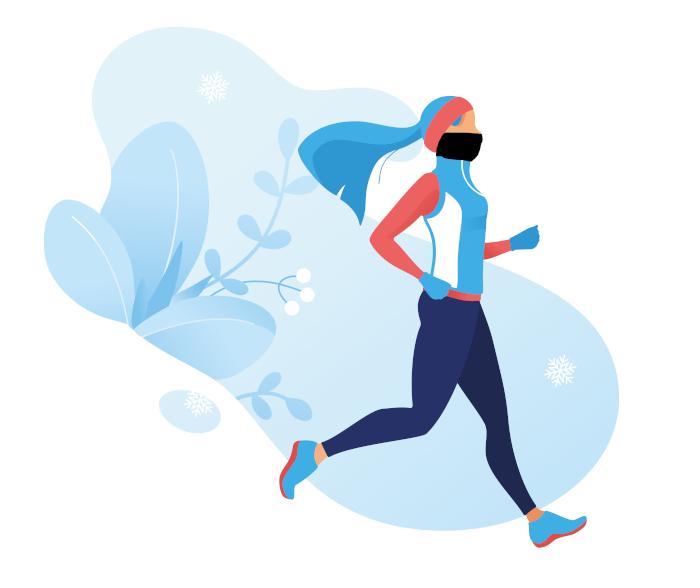 kobieta biegająca w masce na twarz wektor