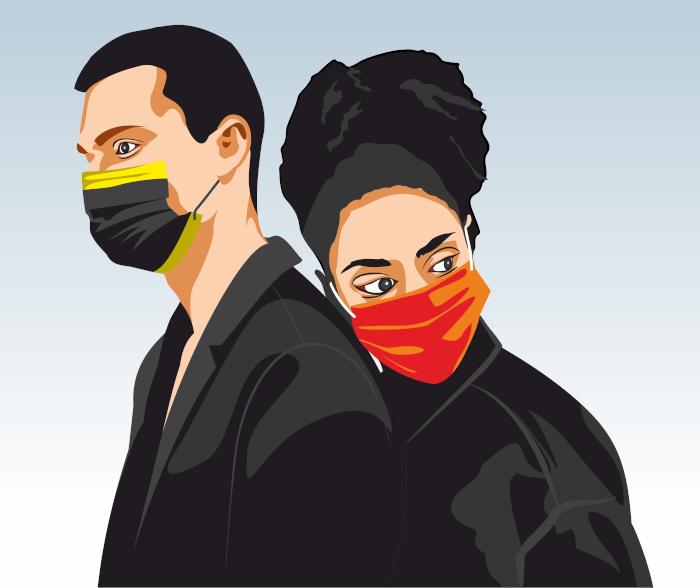 mezczyzna i kobieta w maskach